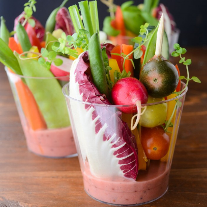 Individual Salad Cups with Rhubarb Vinaigrette