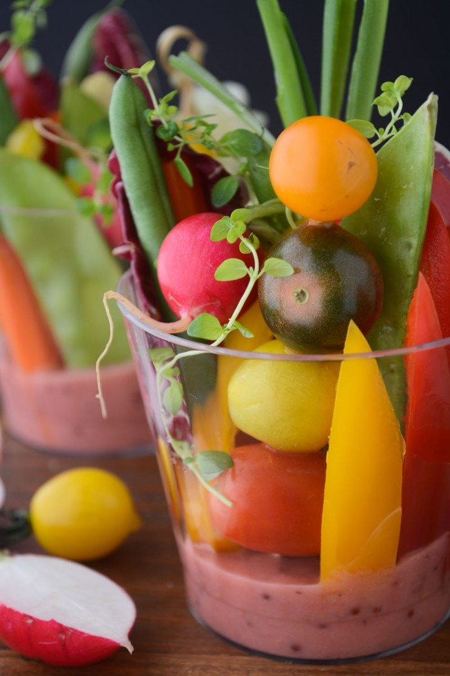 an easy way to serve salad to a crowd - individual salad cups with rhubarb vinaigrette