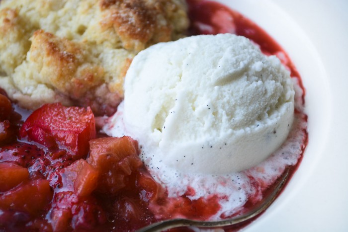 first of the season strawberry rhubarb cobbler