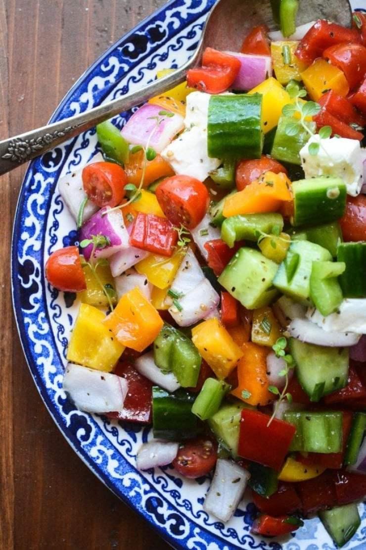 Israeli Chopped Salad with spoon