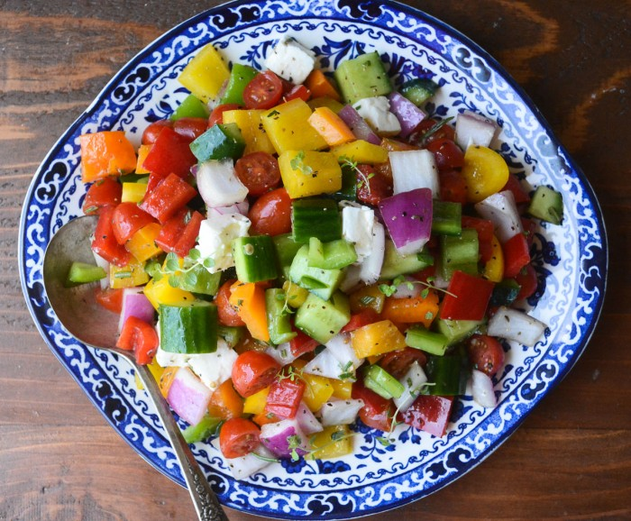 chunky Israeli Salad is full of bright colors and great textures