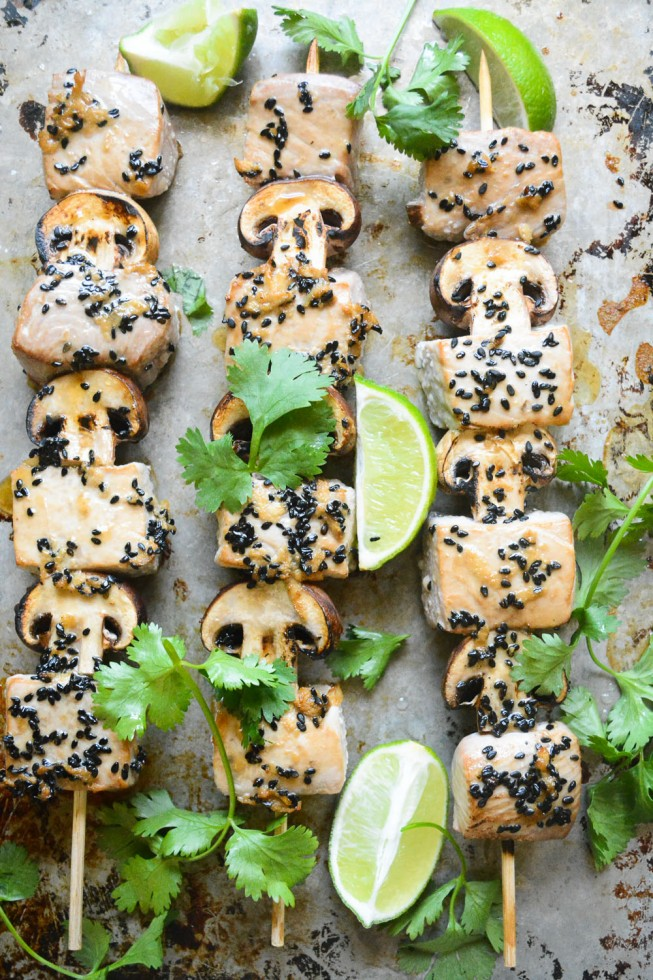 tuna and mushroom skewers for the stove top, oven or the grill!