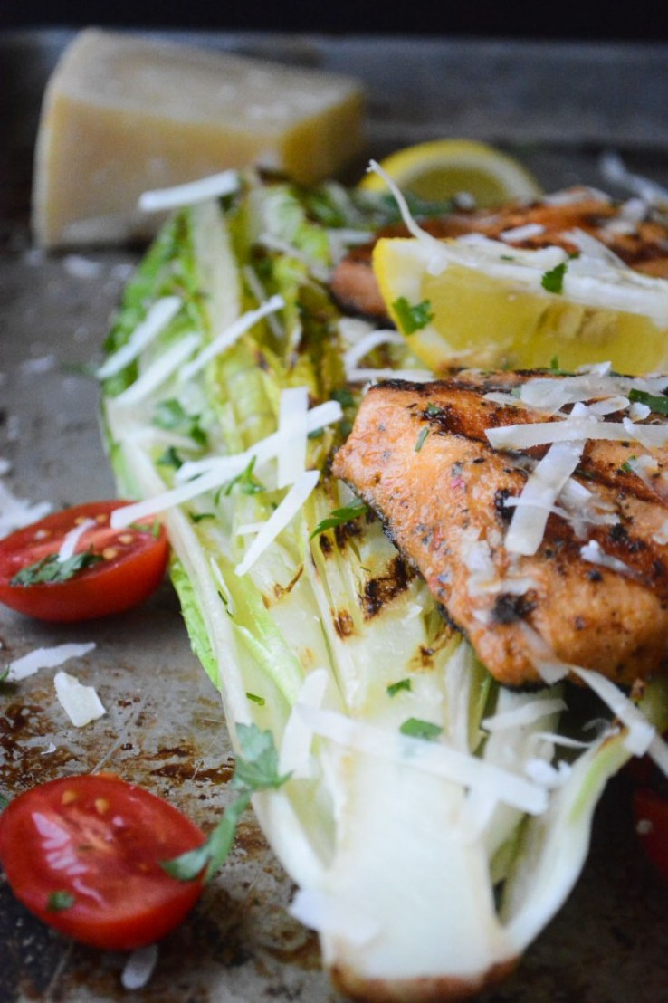Wild Salmon and Grilled Romaine Salad