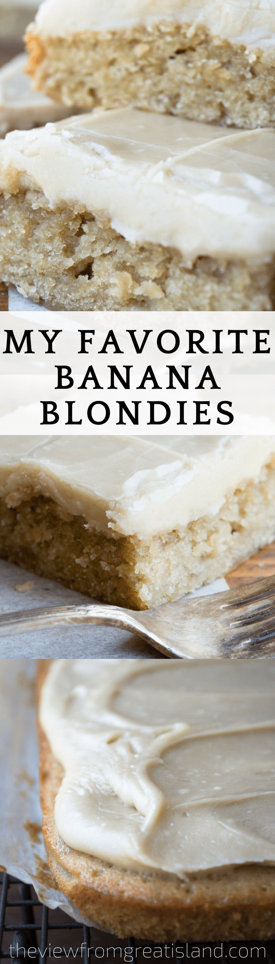 My Favorite Banana Blondies ~ these easy blondies are rich, dense, and fudgy, with a to-die-for caramel frosting! #bananacake #bananabread #blondies #caramelfrosting #snackcake #cake #dessert #easyblondies #bestbananacake #brownies