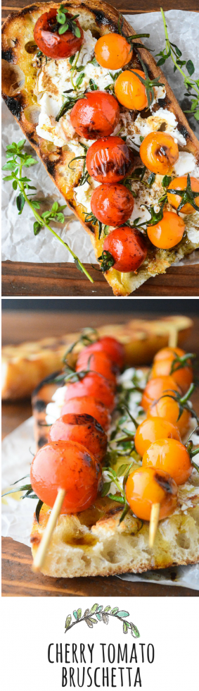 Cherry tomatoes are quick grilled and set over toasted bread slathered with goat cheese