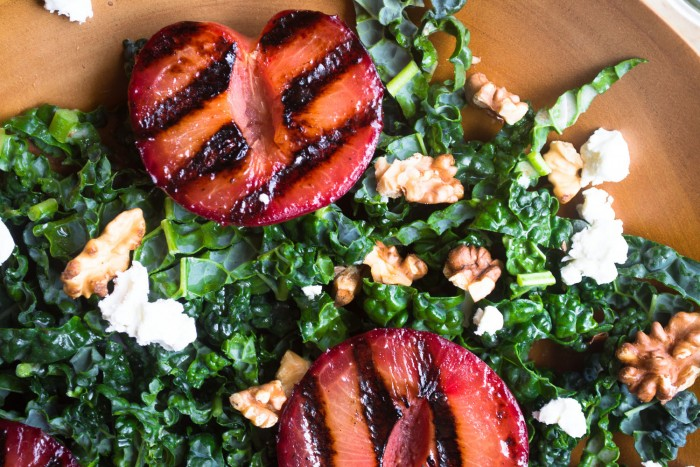 Fresh and healthy Grilled Stone Fruit and Kale Salad