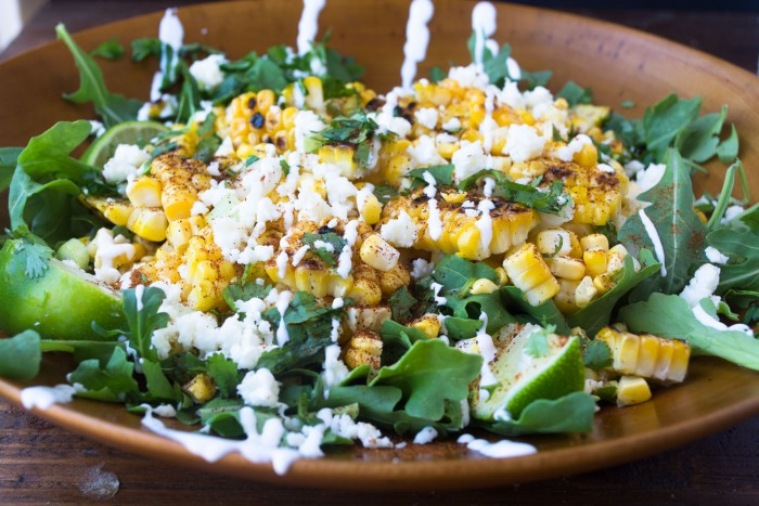 Mexican Street Corn Salad with arugula