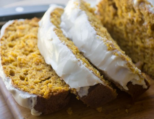 Moist pumpkin bread with a sweet maple glaze