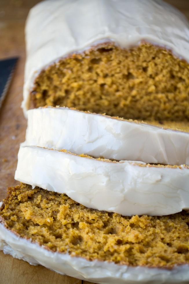 Delicious pumpkin quick bread with a maple glaze