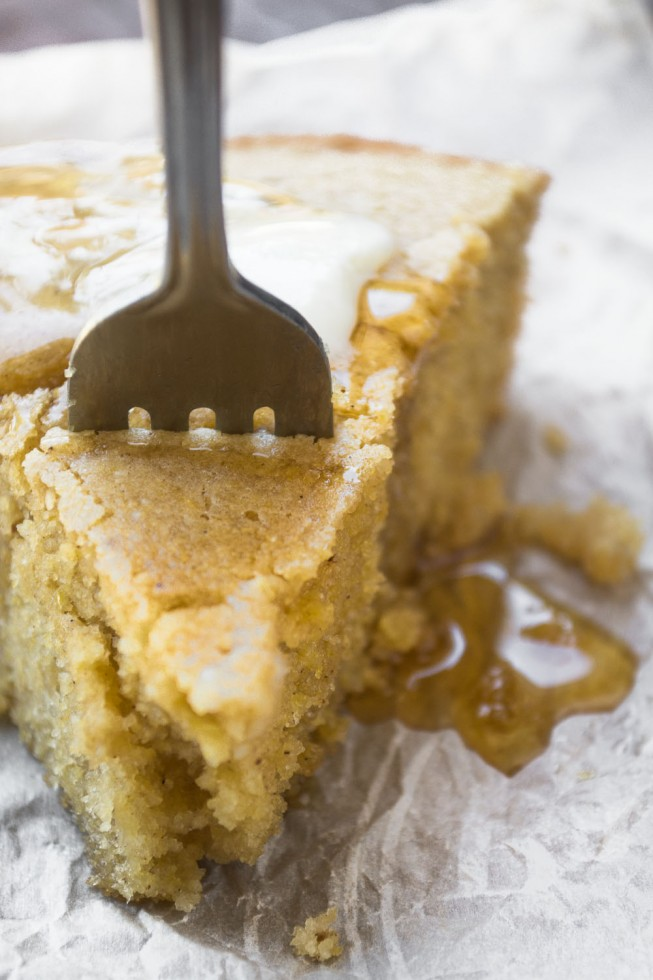 A wonderful dense, silky cornbread lightly flavored with fall spices