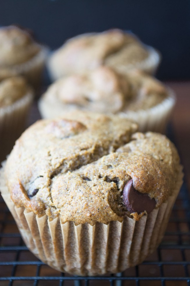 Healthy and hearty 7-grain pumpkin muffins with chocolate chips