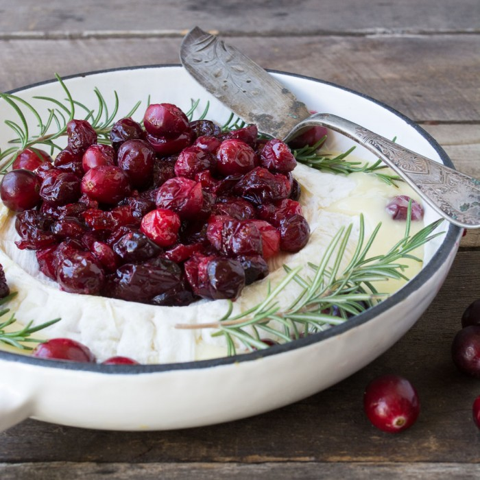 Baked Brie with maple Roasted Cranberries