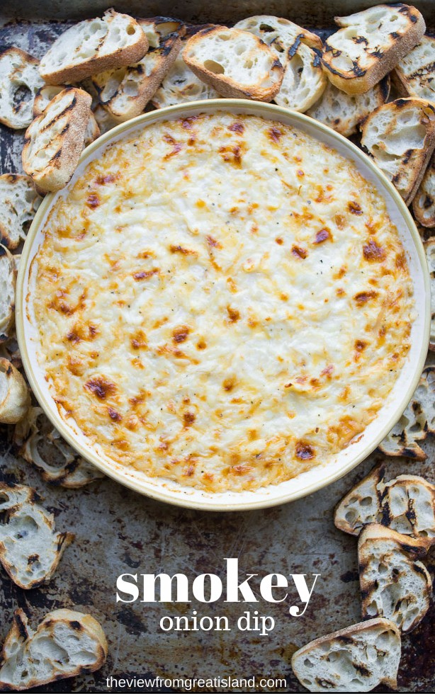 Smokey Onion Dip appetizer baked with sweet onions and lots of smoked cheese