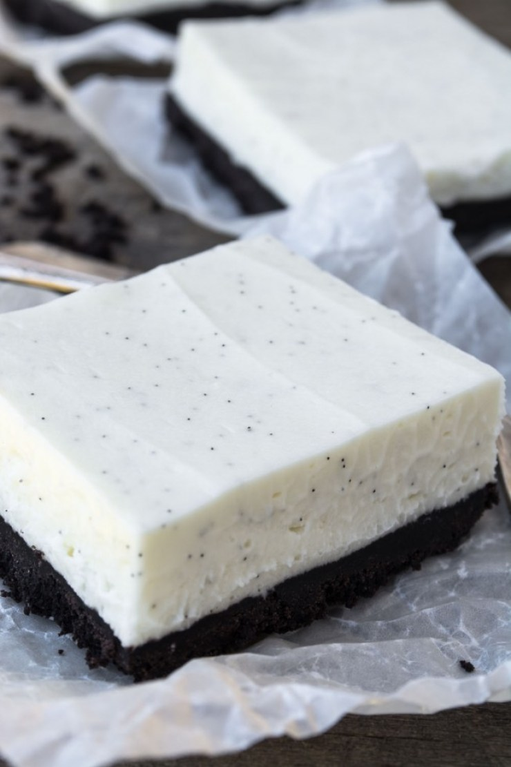 No Bake Vanilla Bean Cheesecake Bars recipe