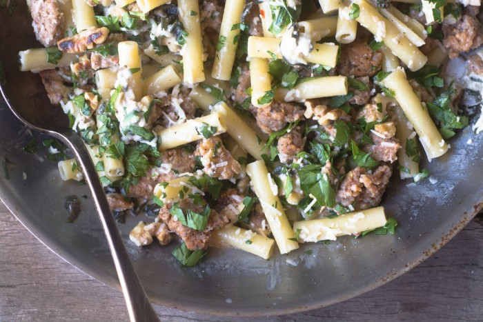 A comforting and homey 30 minute Pasta with Sausage Lemon and Sage