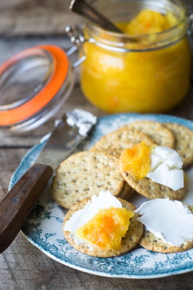 Pineapple Habanero Jam with crackers and chese is an elegant appetizer