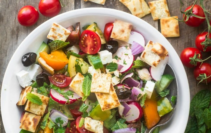 Fattoush Salad with tomatoes and pita chips