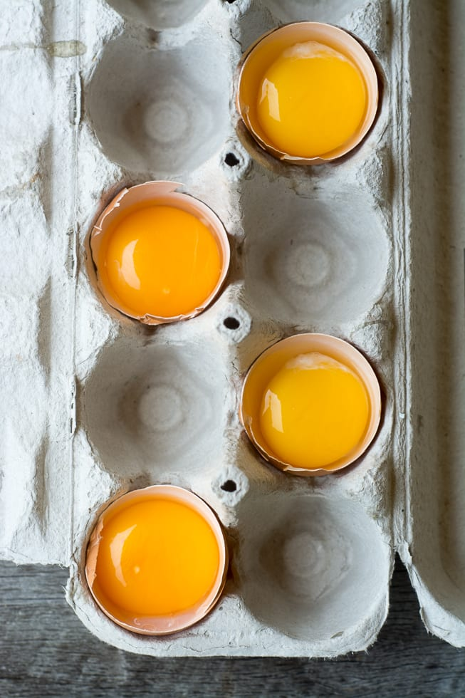 Egg yolks to make the lemon sauce for Chicken in Lemon Sauce with Olives | theviewfromgreatisland.com