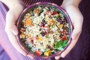 Couscous Almondine Salad with a spiced lemon vinaigrette is a complete departure from your everyday pasta salad! ~ theviewfromgreatisland.com