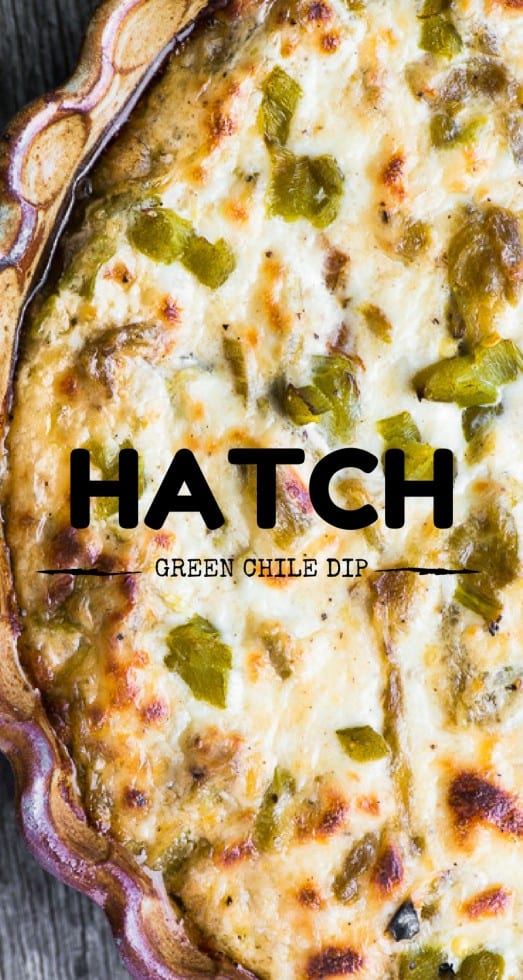 Cheesy Hatch Green Chile Dip is pretty much the ultimate appetizer for all you chile heads out there who also appreciate the finer points of hot, gooey cheese and the salty crunch of a great tortilla chip. #appetizer #cheesedip #dip #hotdip #bakeddip #chiledip #hatchchiles #spicy #partyfood #chipsanddip #gamenight #gamenightfood #gamedaygrub #tailgating #comfortfood