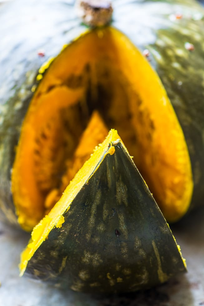 Whole Roasted Kabocha Squash with Chipotle Butter is a dramatic and delicious fall side dish! ~ theviewfromgreatisland.com