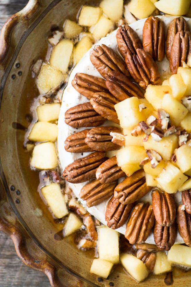 Baked Brie with Apples, Pecans, and Maple Syrup combines the best flavors of the season into one blockbuster of an appetizer! ~ theviewfromgreatisland.com