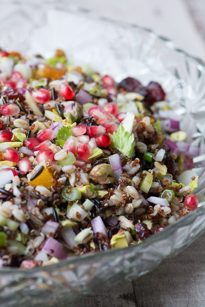 Ancient Grains Holiday Salad made with wild rice, farro, red quinoa, and lots of colorful fruits and nuts ~ theviewfromgreatisland.com