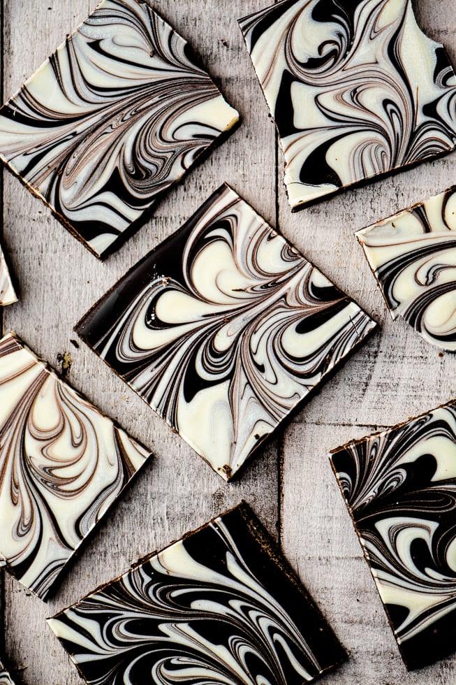 Black and white chocolate swirled bark ~ theviewfromgreatisland.com