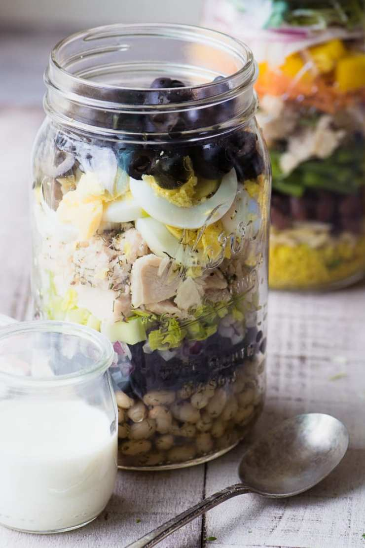 Handy Tuna Salad Mason Jars make the perfect healthy working lunch ~ theviewfromgreatisland.com
