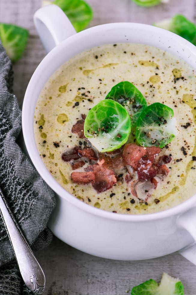 Creamy Brussels Sprout and Bacon Soup is the perfect comfort food for a chilly night ~ theviewfromgreatisland.com