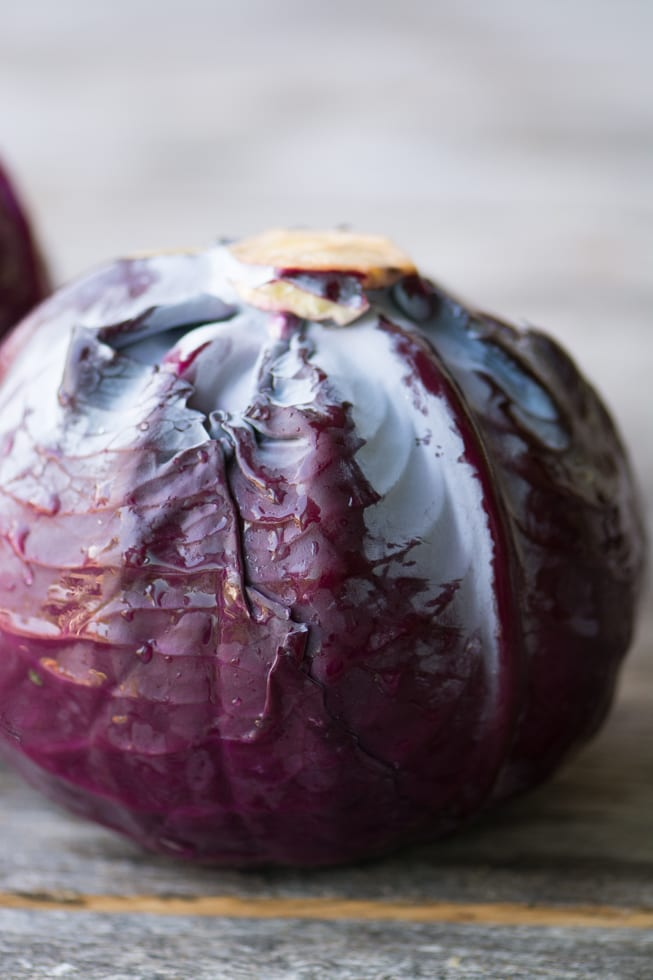 A head of red cabbage for Braised Red Cabbage ~ theviewfromgreastisland.com