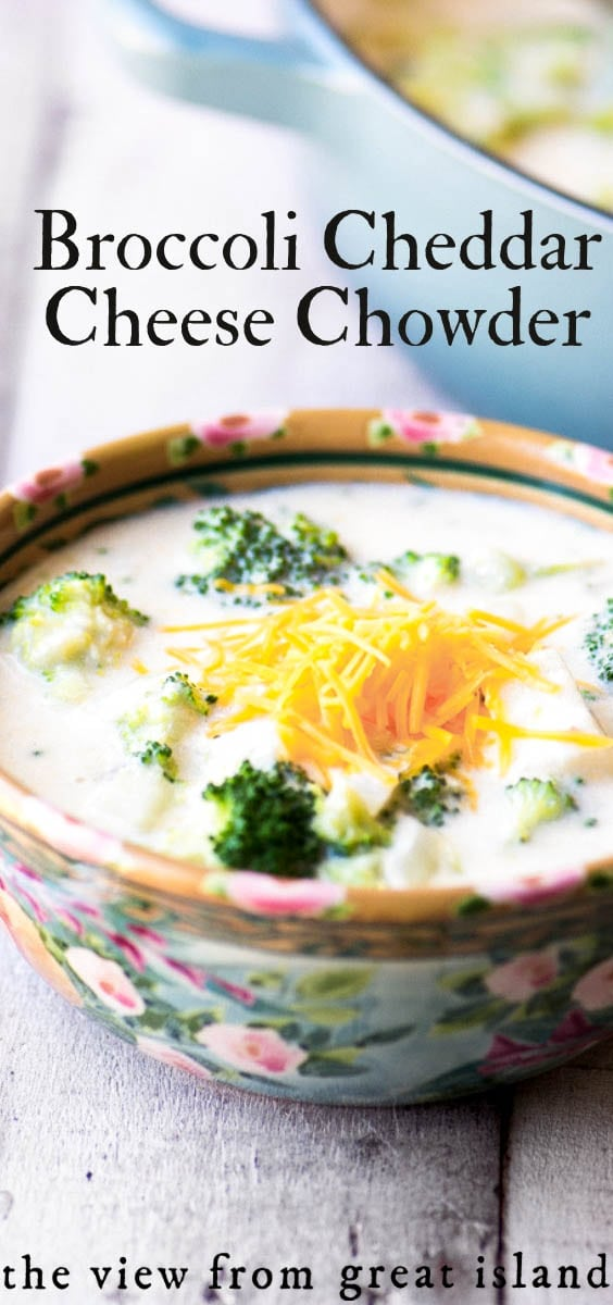 Creamy Broccoli and Cheddar Cheese Chowder is comfort food at its finest...made from scratch quickly and easily in 30 minutes. #recipe #homemade #easy #soup #chowder #cheese #cream #nocan #fromscratch #dinner #meatless