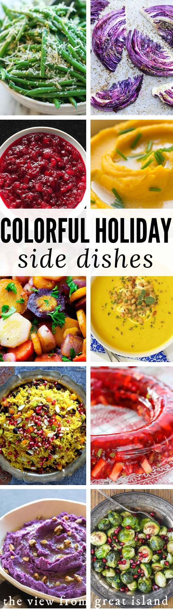 15 Easy and Colorful Thanksgiving Side Dishes ~ is your Thanksgiving table a sea of drab neutrals? What a turnoff! Wake up everybody's taste buds with these 15 vibrant recipes. #Thanksgiving #Christmas #wintersquash #cranberries #carrots #beans #cabbage #seetpotatoes #brusselssprouts #easy #recipe #cornbread