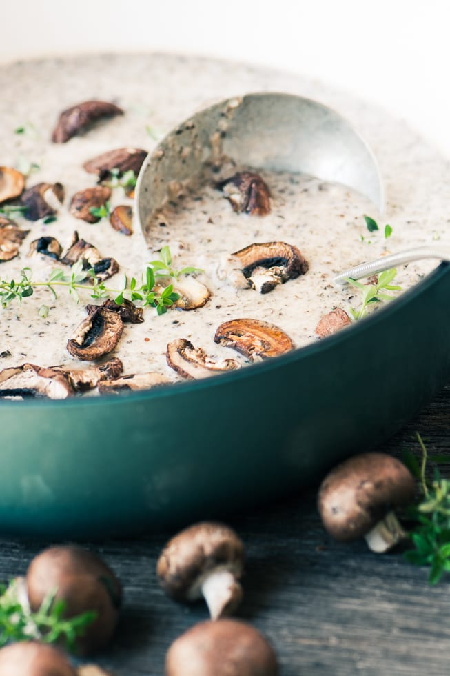 Mushroom and Brie Soup is a comforting fall classic elevated to a whole new level with lots of luxurious Brie cheese ~ theviewfromgreatisland.com
