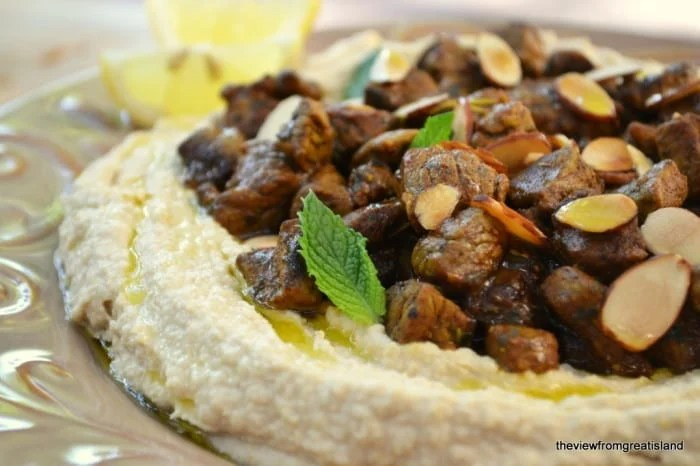 Hummus with spiced lamb ~ theviewfromgreatisland.com