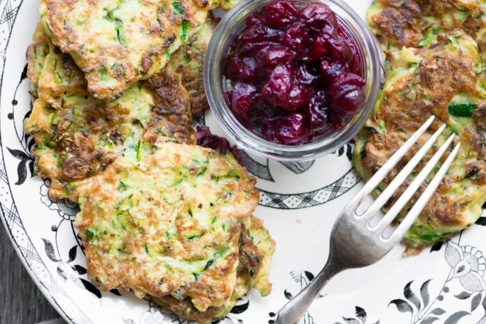 Zucchini Latkes with Maple Cranberry Sauce ~ theviewfromgreatisland.com