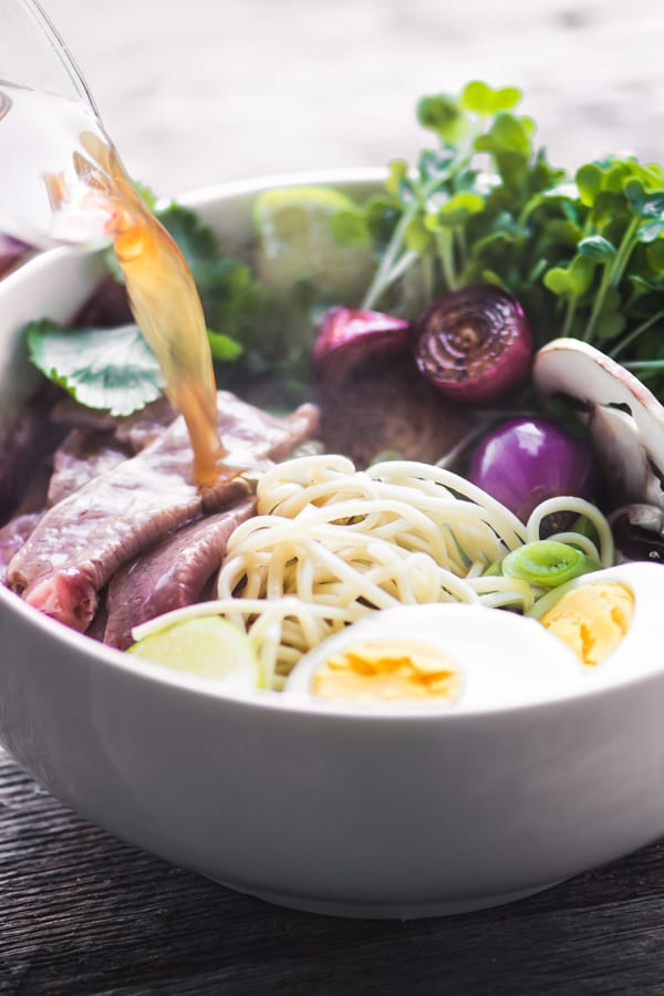 Slow Cooker Weeknight Pho, a healthy and delicious Vietnamese noodle bowl made quick and easy in the crock pot! ~ theviewfromgreatisland.com