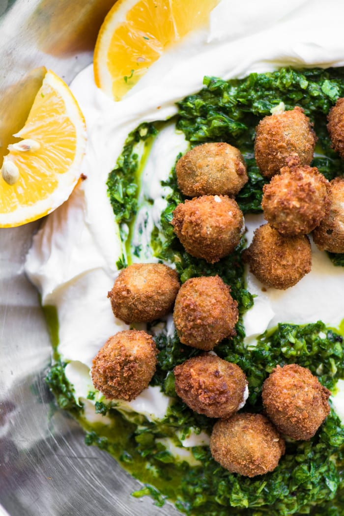 Fried Olives with Spicy Yogurt is a gorgeous and unexpected appetizer that will wow everybody! ~ theviewfromgreatisland.com