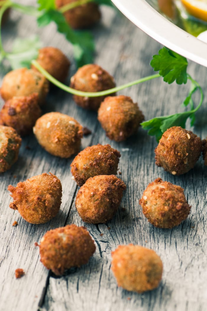 Fried Olives with Spciy Yogurt appetizer ~ theviewfromgreatisland.com