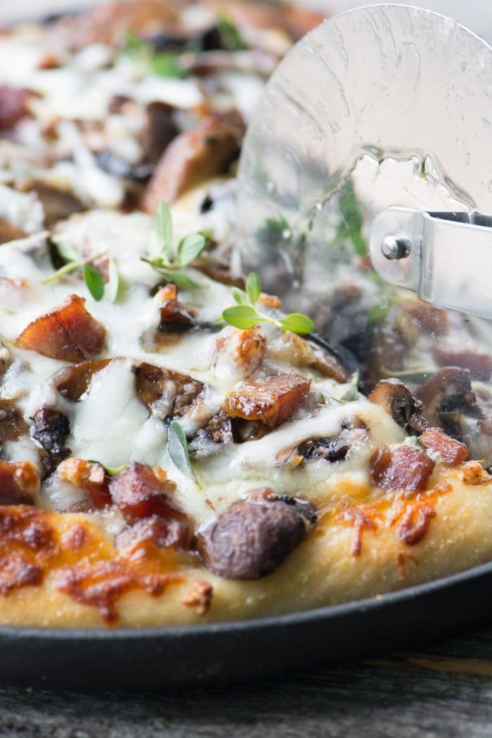 Quick and easy White Mushroom Pizza with Ham ~ theviewfromgreatisland.com