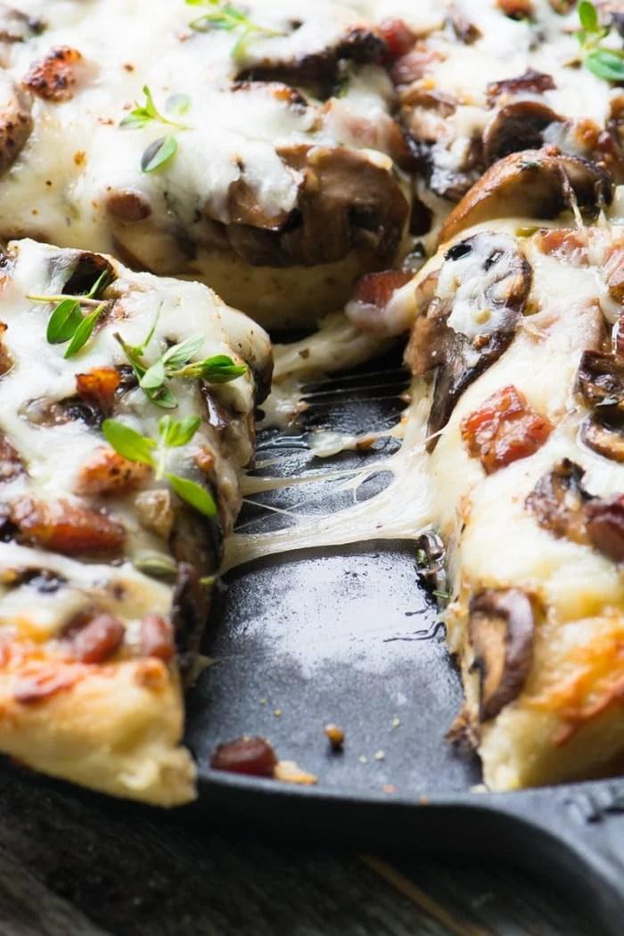 Homemade Deep Dish White Mushroom and Ham Pizza ~ theviewfromgreatisland.com
