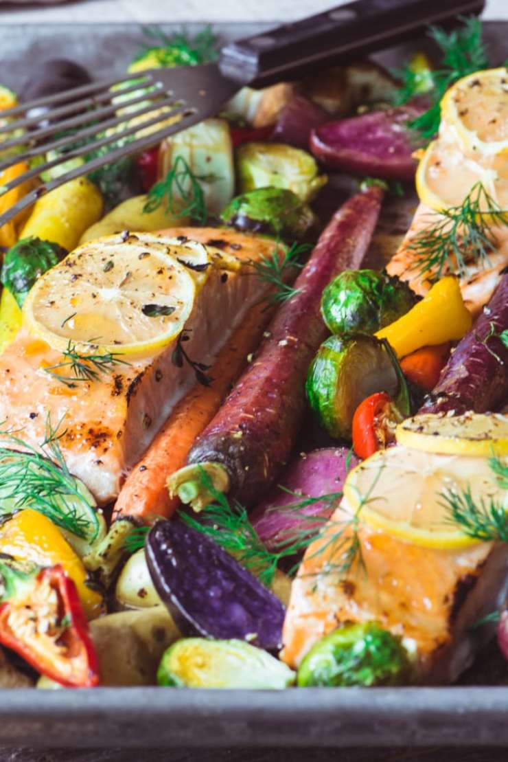 Sheet Pan Salmon with Caramelized Winter Vegetables