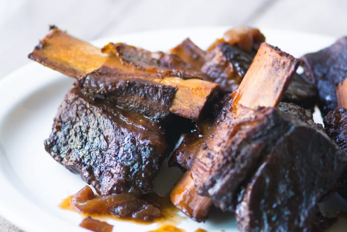 Wine braised short ribs for Short Rib Fries ~ theviewfromgreatisland.com