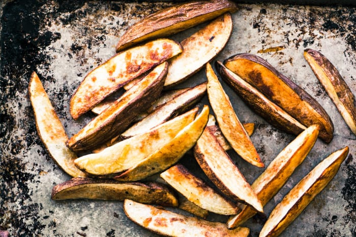 Thick cut russet potato fries for Short Rib Fries ~ theviewfromgreatisland.com