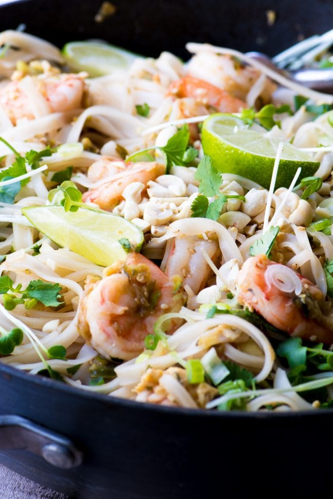 Shrimp Pad Thai is a healthy and authentic version of your favorite Thai take-out ~ theviewfromgreatisland.com