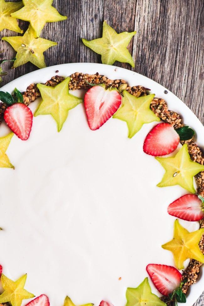 Making a healthy and festive Vegan Fruit and Yogurt Breakfast Parfait