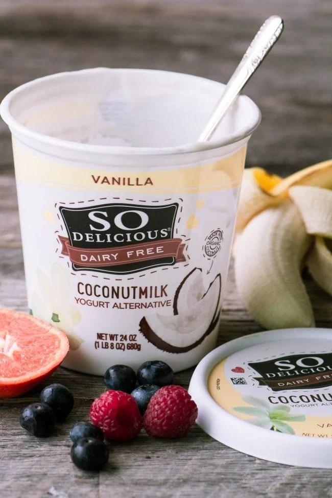 So Delicious Coconut Yogurt Alternative for a Vegan Fruit and Yogurt Breakfast Tart