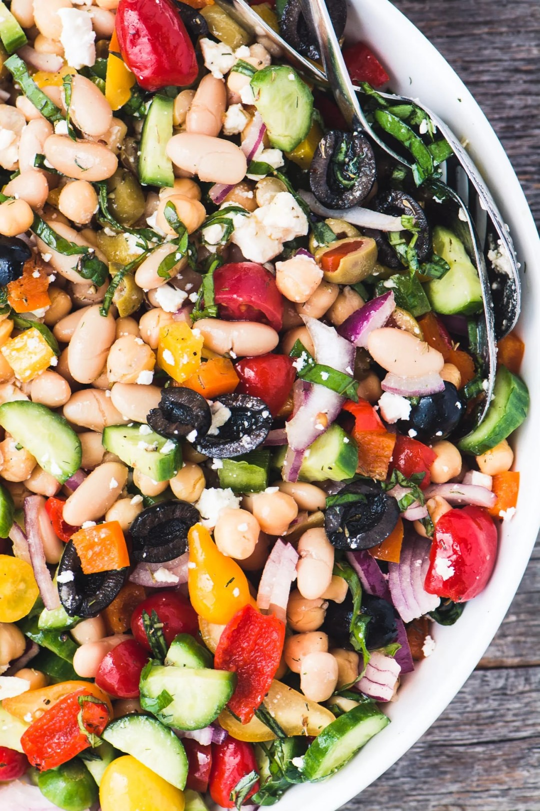 Mediterranean Bean Salad is the perfect picnic, potluck, or barbecue side dish, and it's packed with protein, too!