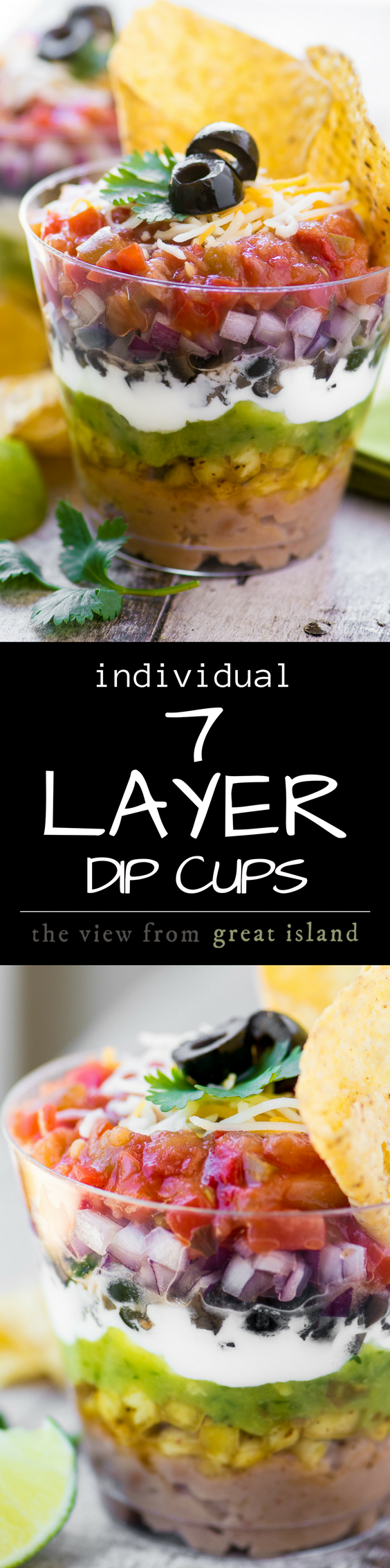 These colorful 7 Layer Dip Cups are portable little appetizer stations layered up just like everybody's favorite Tex-Mex bean dip ~ so you can mingle and chow down at the same time ~ genius! #appetizer #dip #7layer #mexican #guacamole #salsa #summer #barbecue #memorialday #cincodemayo #4thofjuly