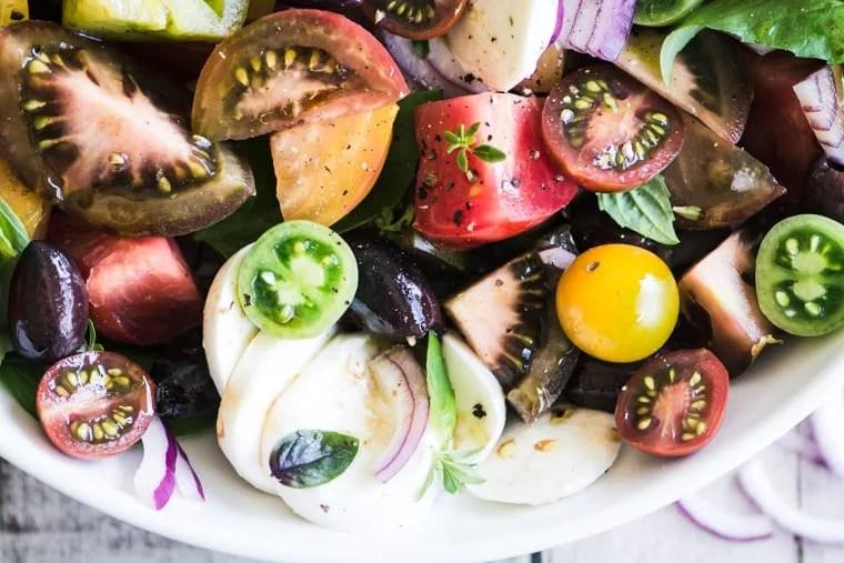 Heirloom Caprese Salad with Kalamata Olive Vinaigrette